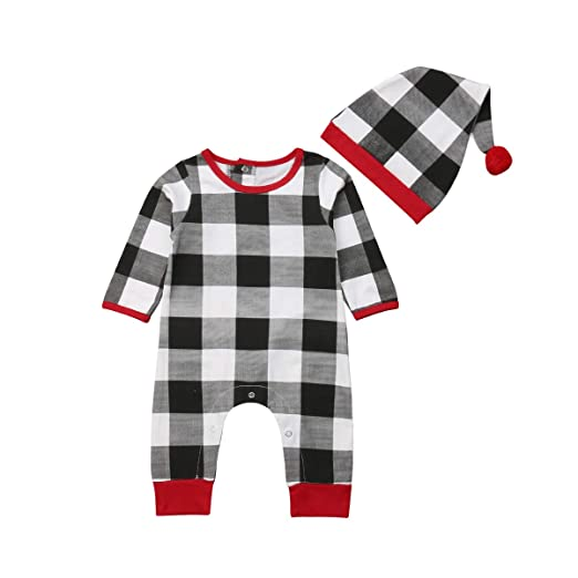 27b82b352fa Newborn Infant Baby Girl Boy Christmas Romper Plaid Bodysuit Long Sleeve  Jumpsuit Hat Xmas Pajams Clothing