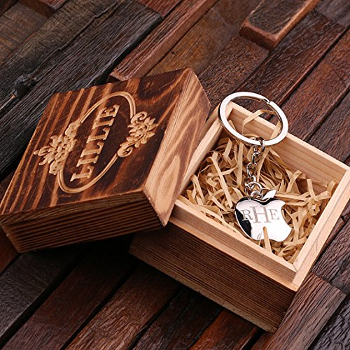 (Personalized Polished Stainless Steel Key Chain Apple with Box)