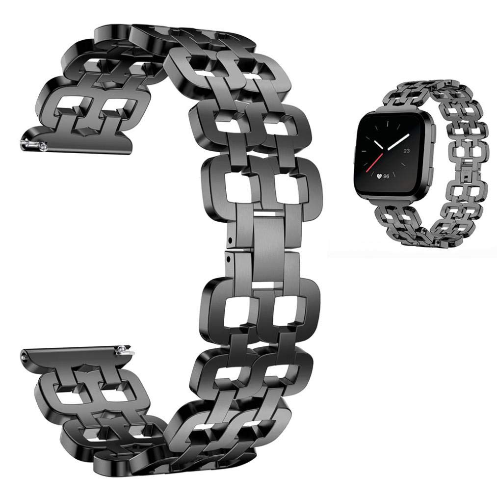 YJYDADA Luxury Stainless Steel Strap Wrist Band Bracelet Replacement for Fitbit Versa (Black)