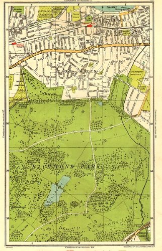 (LONDON: Richmond Park, East Sheen, Mortlake, North Sheen, Roehampton, 1937 map)