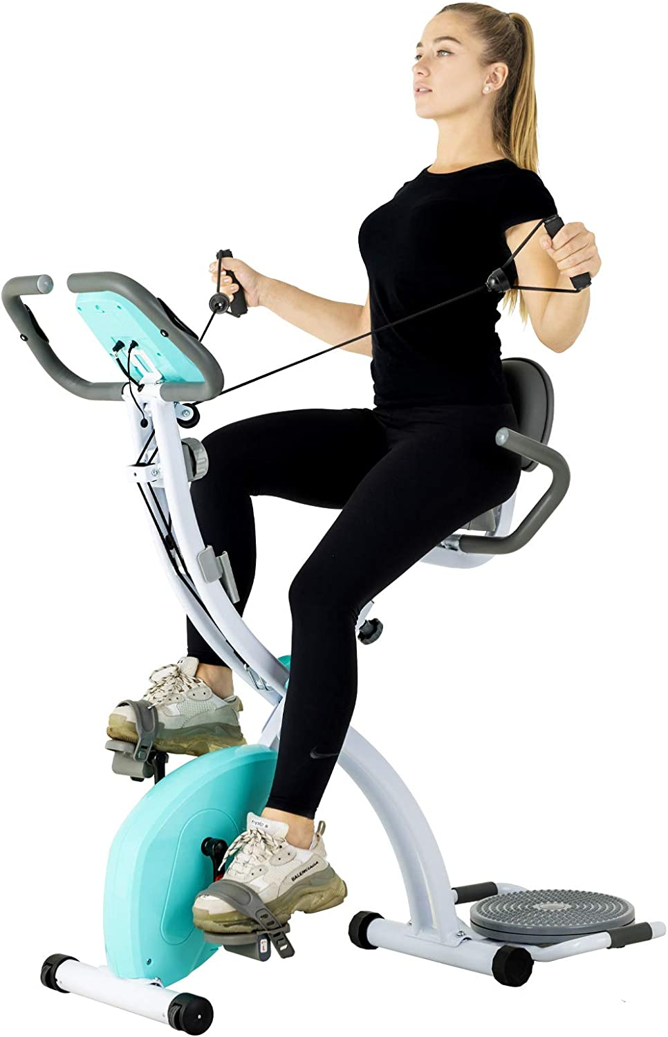 Murtisol Stationary Bike – Folding Indoor Exercise Bike with Twister Plate, Arm Resistance Bands, Extra Large Adjustable Seat and Heart Monitor – Perfect Home Exercise Machine for Cardio, Three Colors