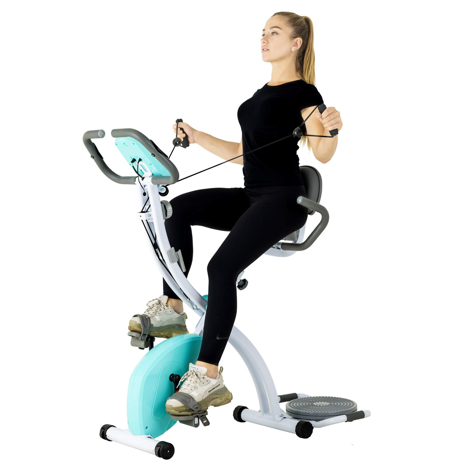 Murtisol Folding Exercise Bike Compact Foldable Stationary Bike Magnetic Resistance Control W/ Twister Plate, Arm…