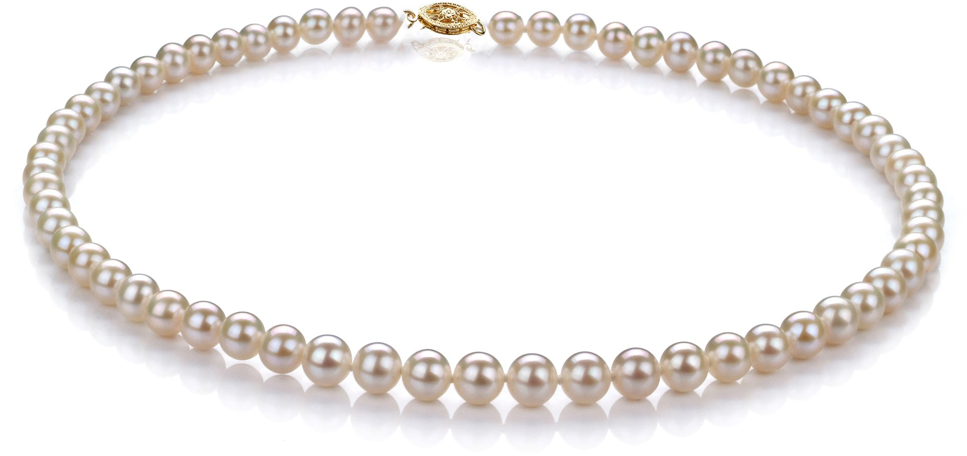 White 6-7mm Freshwater 10K Yellow Gold Cultured Pearl Necklace-18 in length