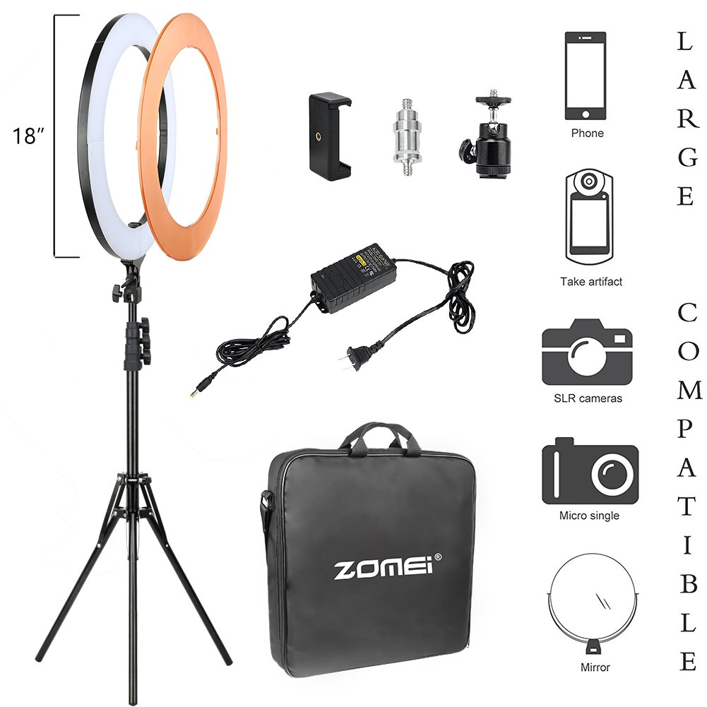 Zomei 18 Inch Ring Light Dimmable LED with Stand Cell Phone Spring Clip Holder Good for Beauty Facial Make Up Live Stream Camera Smartphone Youtube Video Shooting by ZoMei