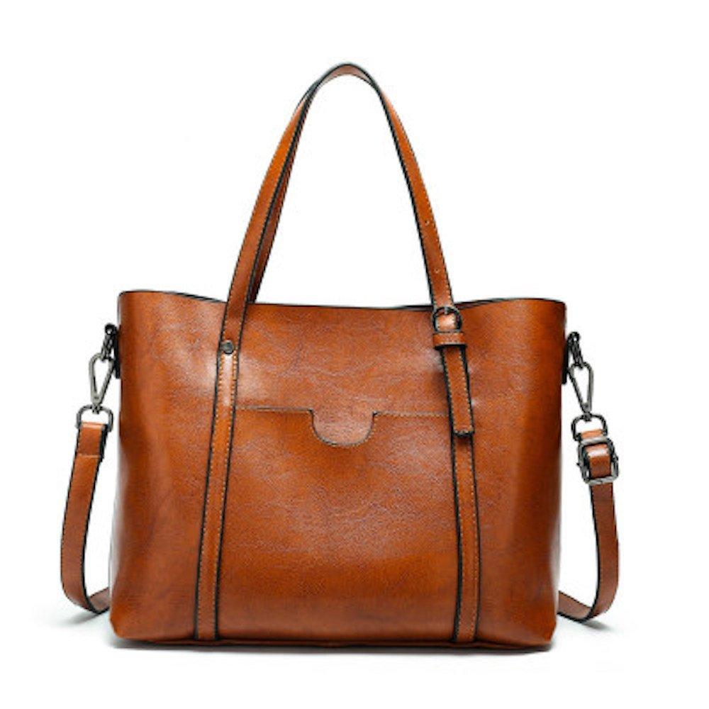 Women Top Handle PU Leather Classical Shoulder Tote cross-body Bag Purse (Camel)