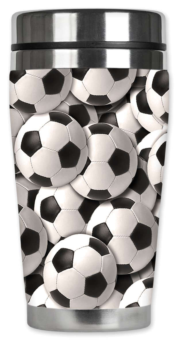 16 oz Black Mugzie Soccer Balls Travel Mug with Insulated Wetsuit Cover