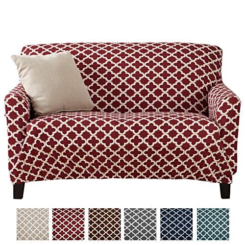 - Home Fashion Designs Printed Stretch Loveseat Furniture Cover Slipcover Brenna Collection, Burgundy