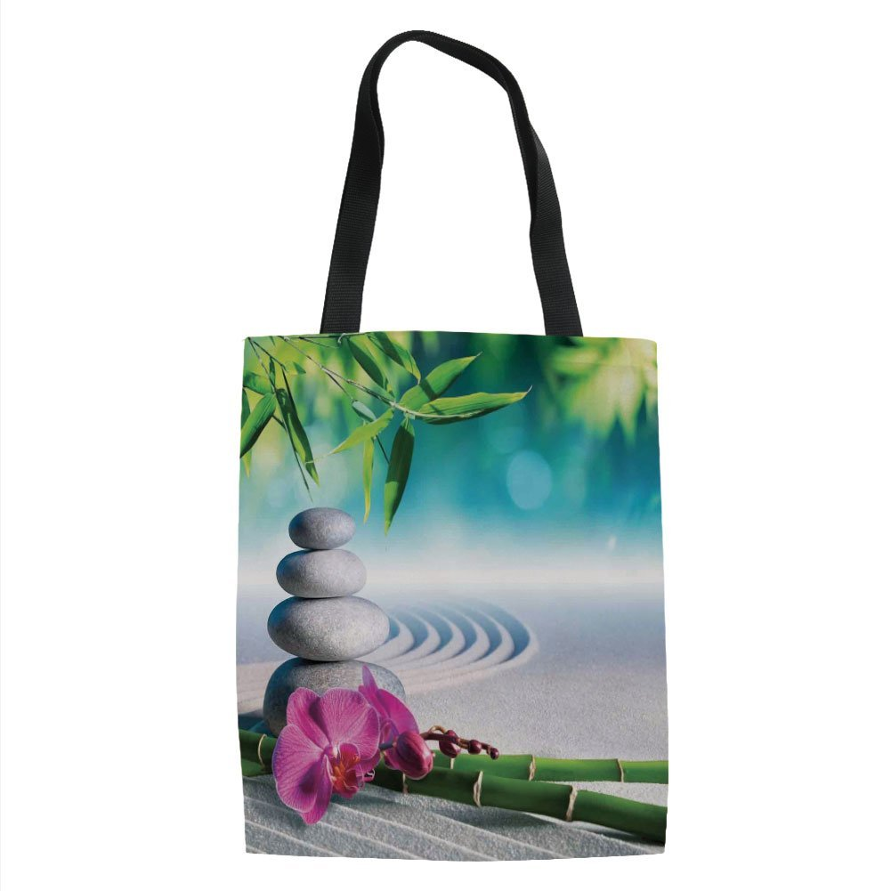 IPrint Spa Decor,Sand Orchid and Massage Stones in Zen Garden Sunny Day Meditation, Printed Women Shoulder Linen Tote Shopping Bag