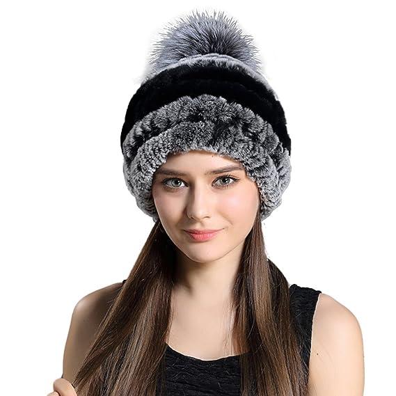 c0891da80b431 BeFur Bonnet Pompon Femme Tricot En Fourrure De Lapin Chapeau Pompon Fille  Hiver Noir