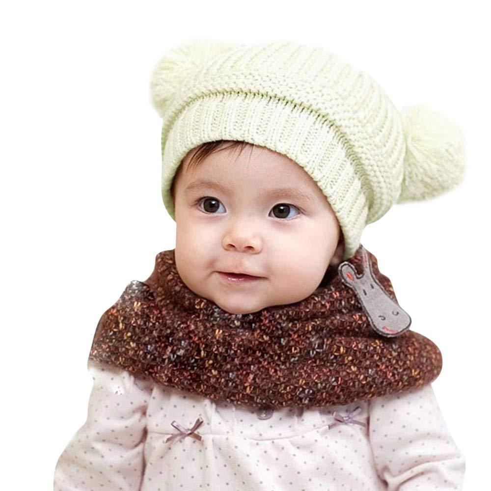 ODJOY-FAN-bambino inverno Tenere caldo Doppia palla Cappello lavorato a maglia-Sciarpa e Berretto Invernale maglia Bimba Bambina- cappelli della protezione per il scherza ragazzi delle ragazze