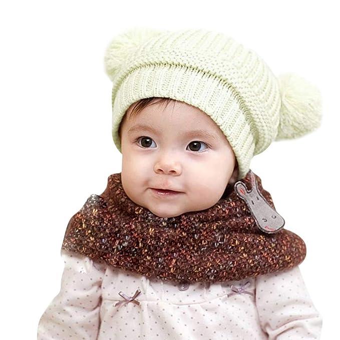 ODJOY-FAN-bambino inverno Tenere caldo Doppia palla Cappello lavorato a  maglia-Sciarpa ee8488e77068