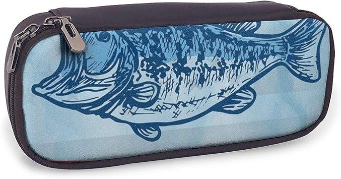 Lindo estuche para lápices, pictograma de pescado con diseño de bandera nacional de Estados Unidos, gancho de fondo y estrellas, soporte perfecto para lápices y bolígrafos: Amazon.es: Oficina y papelería