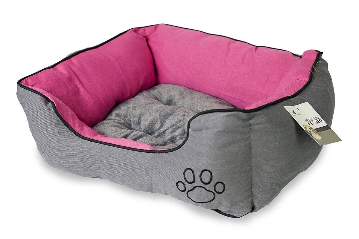 Cozy Dog Bed for Small Breed Dog Cat Cushion House Puppy Soft Warm Kennel(PINK & GREY)