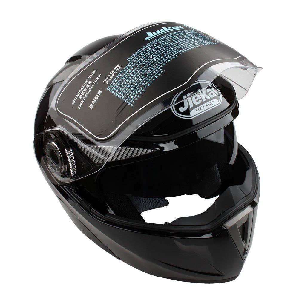 Amazon.es: Casco de Moto de Doble Lente con Visera Integral Casco de Protección de Motocicleta (XXL, Negro No Reflexivo)