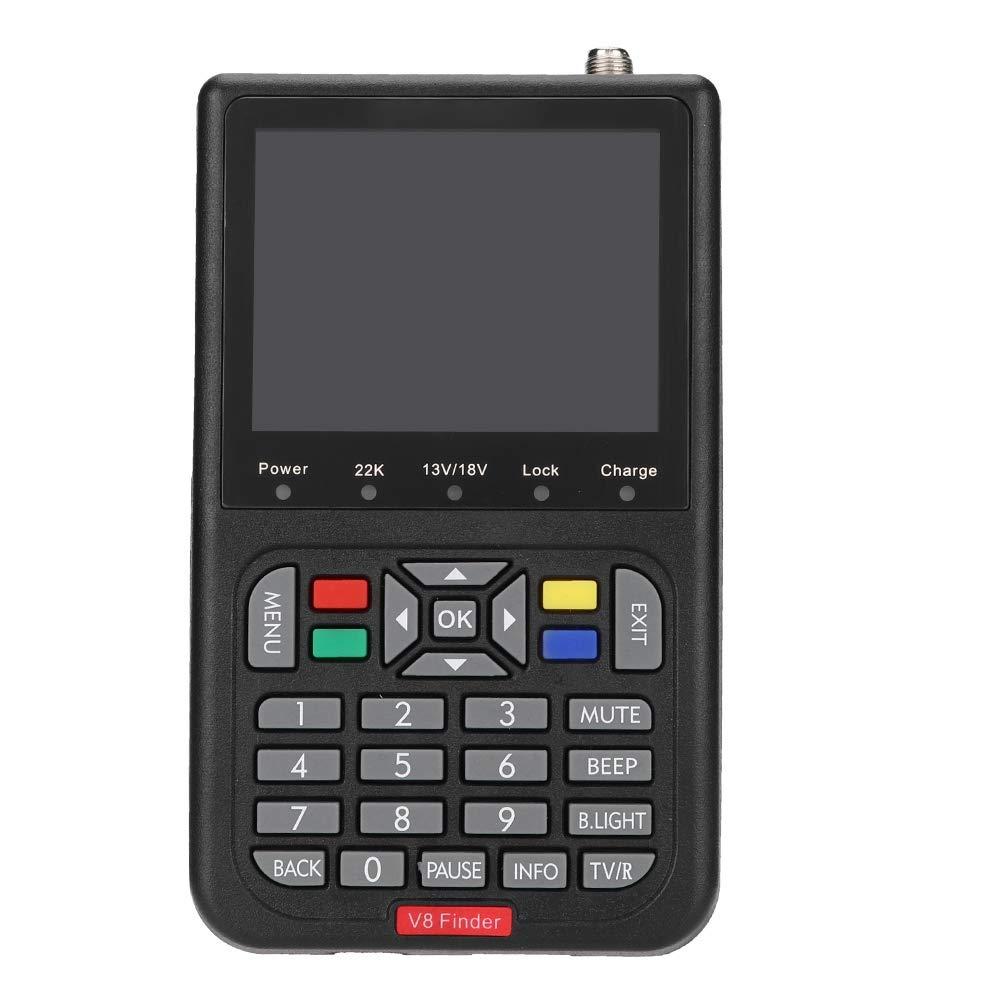 Digital Satellite Meter,Black 3.5 inch LCD HD 1080P HDMI 4 Hours DVB-S Digital Built-in menu System V8 Satellite Signal Meter Detector Finder for Families/Caravan/Wild(US Plug)