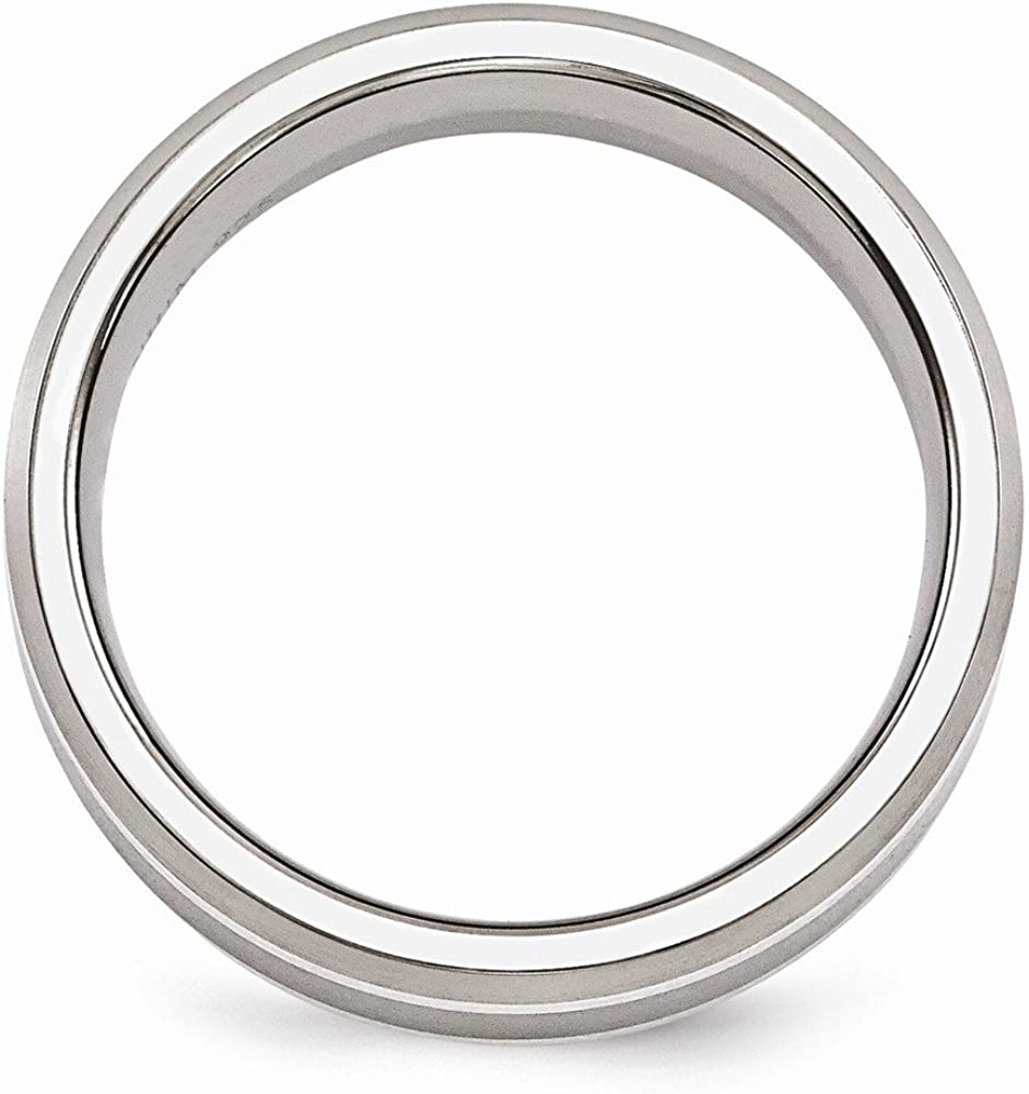 Bridal Wedding Bands Fancy Bands Edward Mirell Titanium Brushed and Polished with Sterling Silver Inlay 7mm Band Size 11