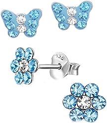 SL-Silver 2 Paar Ohrringe Set Kristall Schmetterling und Blume aus 925 Silber im Geschenketui
