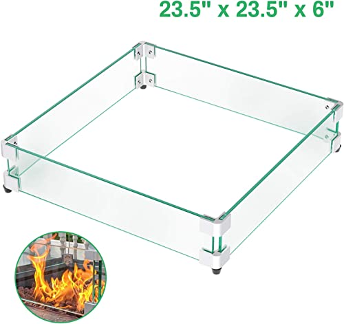 GASPRO 23.5 Square Fire Pit Glass Wind Guard, Clear Tempered Glass Wind Guard 5 16inch Thickness for 30 Square Fire Pit Table and 18 Square Drop-in Fire Pit Pan-23.5 x 23.5