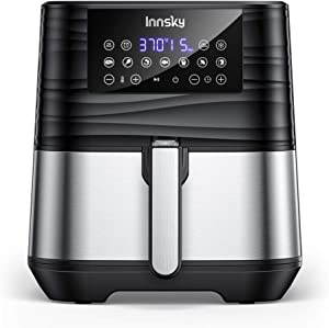 Innsky Air Fryer XL, 5.8 QT, 1700W Electric Stainless Steel Hot Air Fryers Oven for Roasting/Baking/Grilling, LED Touch Digital Screen with 7 Cooking Presets, Preheat& Keep Warm, Appointment & Nonstick (32 Recipes)