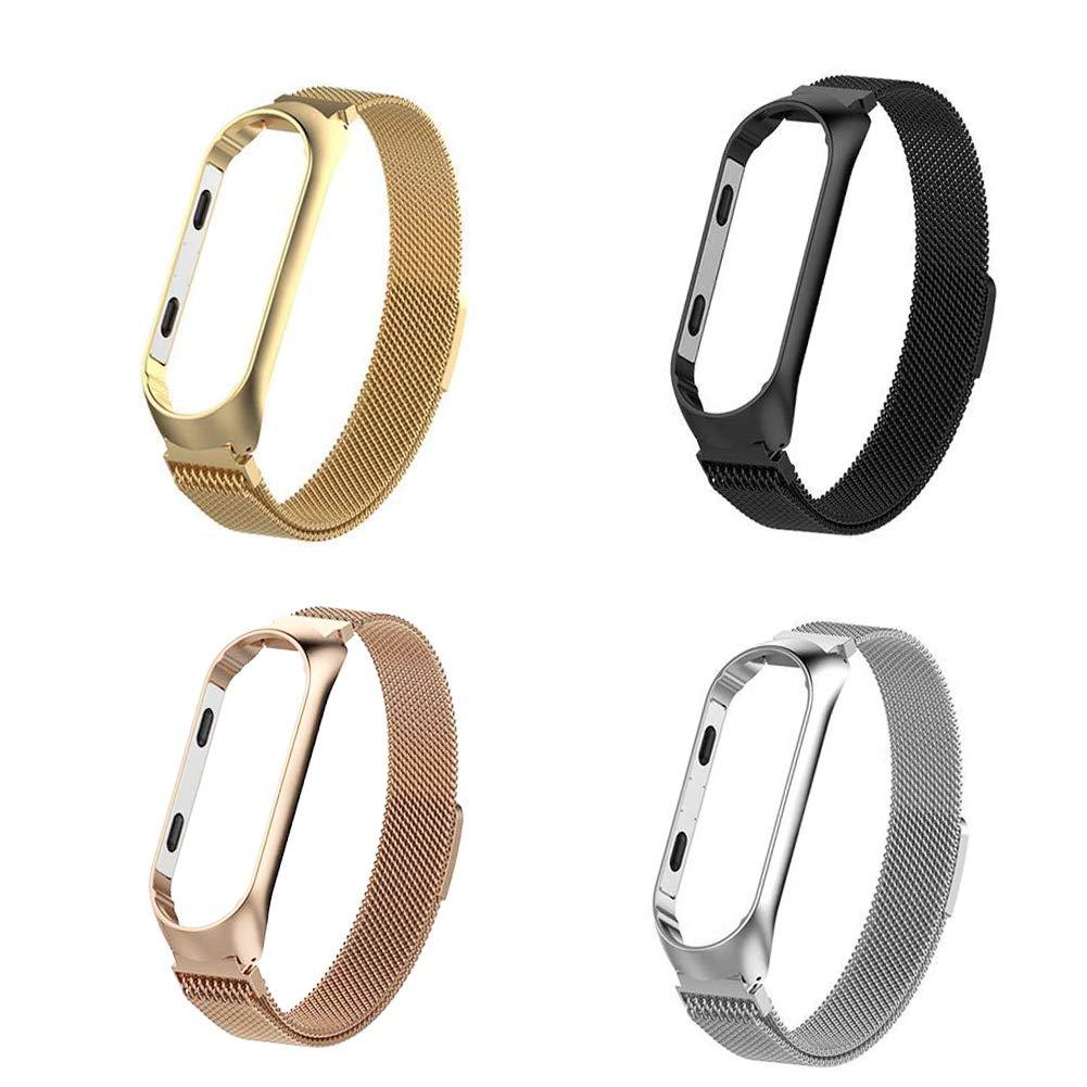 Simpeak Compatible Xiaomi Mi Band 3 Correa 5.5-6.7 Pulgadas Milanese Loop Pulseras de Acero Inoxidable Wristband Repuesto Bandas Xiaomi Mi Band 3 Fitness con Cerradura Im/án /Único,Rosa