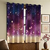 Custom design curtains/Vintage Lace Window Curtain/Grommet Top Blackout Curtains/Thermal Insulated Curtain For Bedroom And Kitchen-Set of 2 Panels(ng Stars Scenery Celestial Galaxy Themed Cosmos Mo) Review