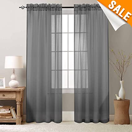 Lazzzy Voile Curtains Bedroom Sheer 95 Inch Long Grey Drapes Rod Pocket Window Curtain 2