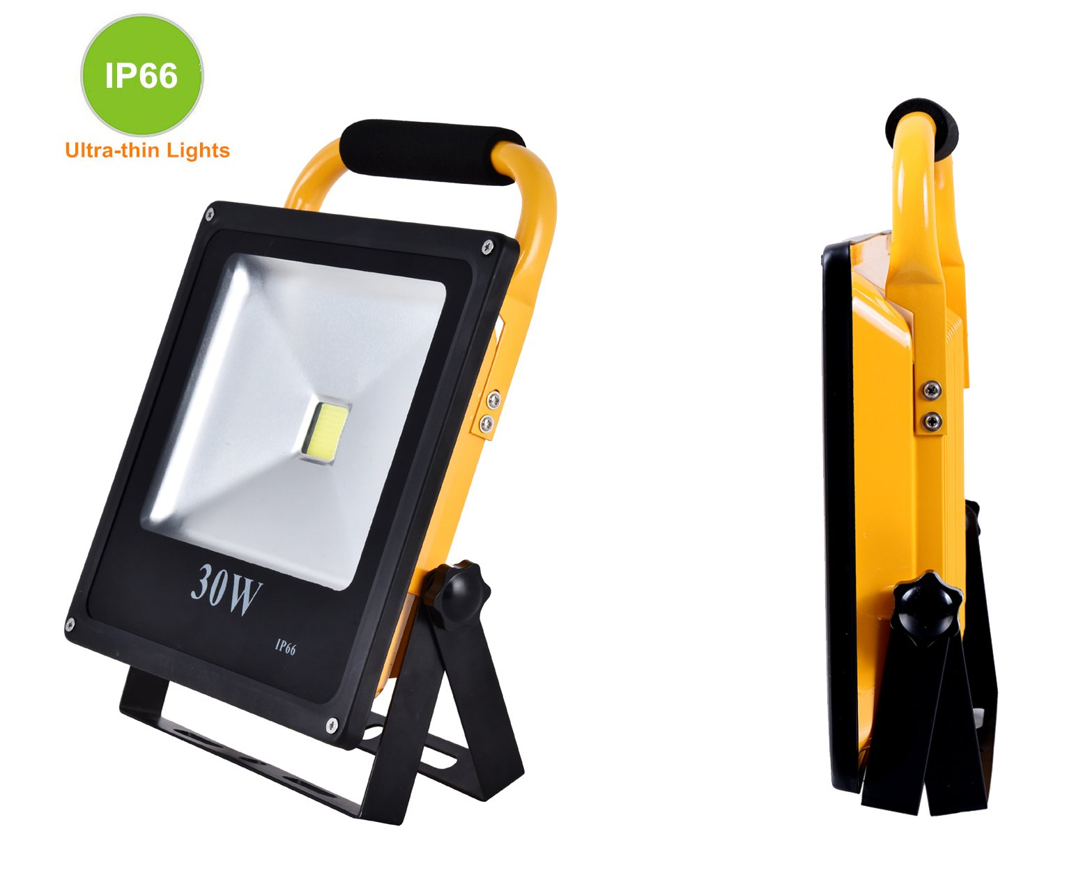 Starsea Portable Work Lights 30W, Rechargeable Led Flood Light with 18650 Lithium Batteries IP66 Waterproof, Rechargeable Led Spotlight, Work Light, Adapter Included