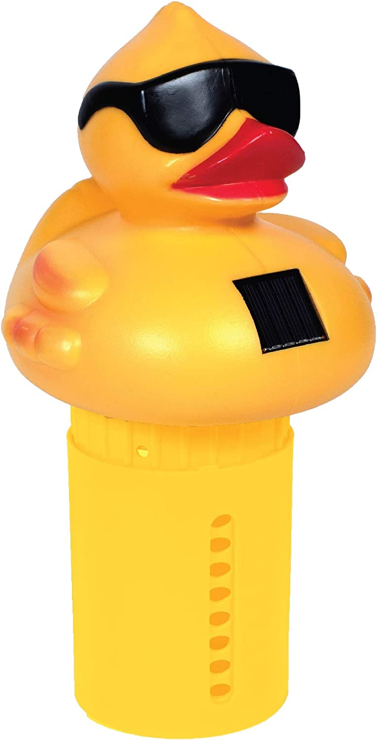 GAME 12301-BB Solar Light-Up Derby Duck Mid-Size Chlorinator Pool Chorine Dispenser, New Version