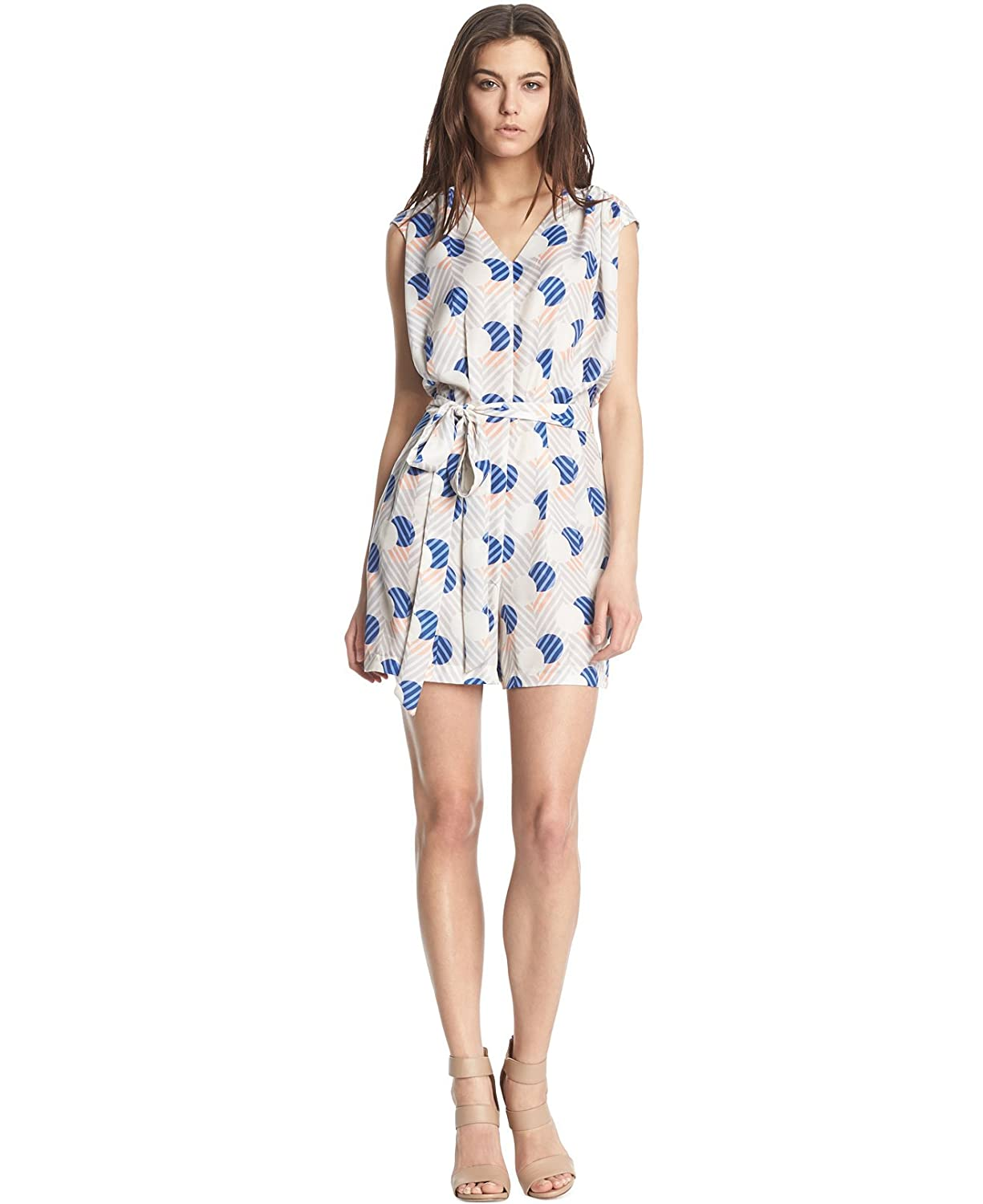 Kiind Of Women's Ruched Printed Camryn Romper