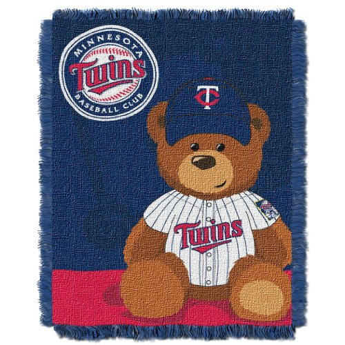 MLB Minnesota Twins Field Bear Woven Jacquard Baby Throw, 36