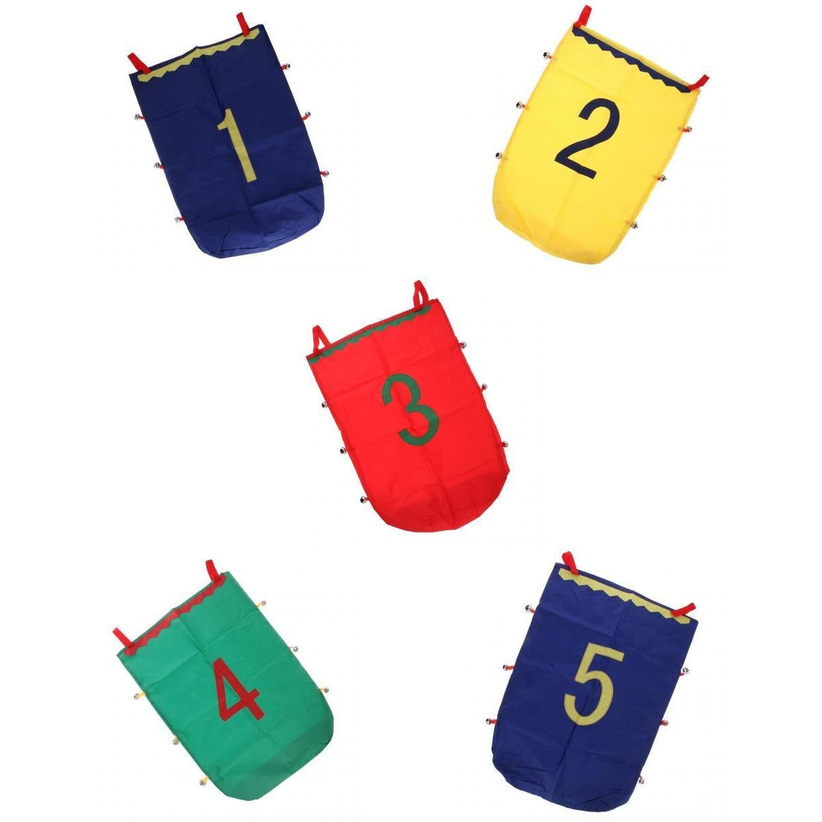 MagiDeal Outdoor Fun Balance Games 5pcs Jumping Sack Toy Racing Bag Kids Montessori Sports Toy Playground Activity Accessories Number 1-5