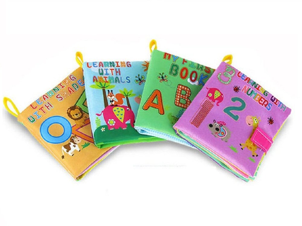 Cloth Baby Books My First Soft Book, Early Learning Activity & Development Non-Toxic Fabric Book for Babies - ABC, 123, Shapes & Animal - Set of 4 Fabric Books