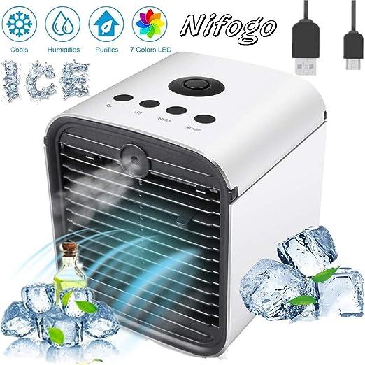 Nifogo Mini Enfriador Portátil USB Aire Acondicionado, 3 en 1 ...