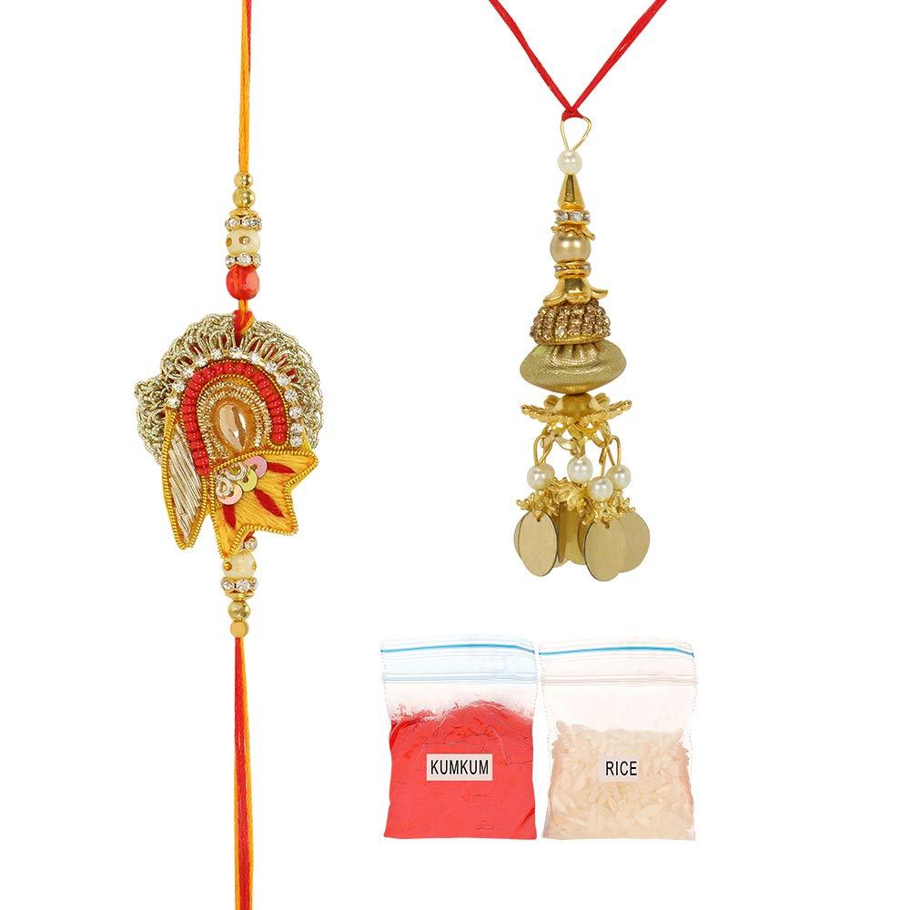 Raksha Bandhan Bracelet for Bhaiya Bhabhi w//Roli /& Chawal Lumba Rakhi for Brother and Bhabhi