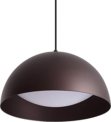Dome LED Pendant Lighting, 11.8inch 12W Warm White 3000K, Oil Rubbed Bronze, One-Light Adjustable Modern Metal Hanging Light Fixture for Kitchen Island Dining Room Farmhouse