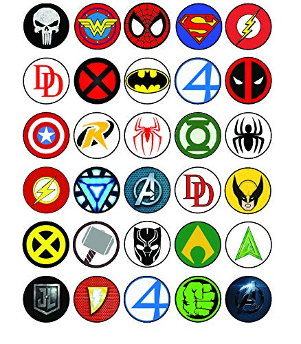 30 x Edible Cupcake Toppers - Superhero Logos Themed Collection of Edible Cake Decorations | Uncut Edible Prints on Wafer Sheet