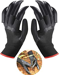 Garden Gloves with Claws, Working Genie Gloves with Double Claws for Digging Planting, Best Gift for Gardener, Black