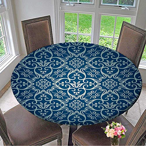 - Mikihome Picnic Circle Table Cloths Luxury Ornamental Floral Wallpaper for Family Dinners or Gatherings 67