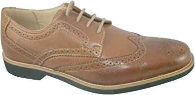 Mens Cognac Mustang Leather Lace Up Brogue Anatomic Shoes Tucano 565626