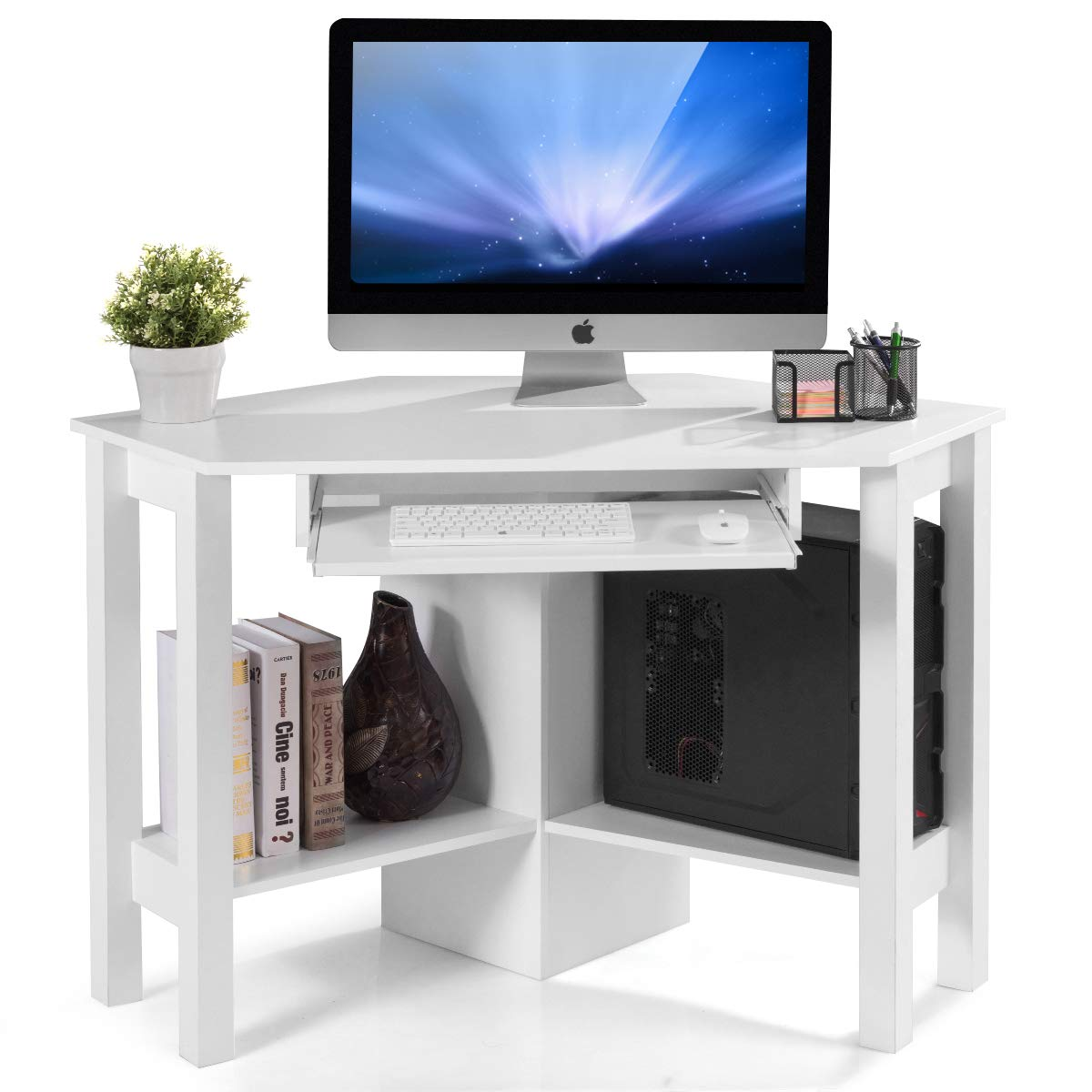 Tangkula Corner Desk, Corner Computer Desk, Wood Compact Home Office Desk, Laptop PC Table Writing Study Table, Workstation with Smooth Keyboard Tray Storage Shelves