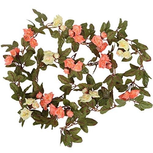 Luyue Artificial Silk Rose Flower Ivy Vine Leaf Hanging Garland Home Wedding Party Decor,Pack of 2