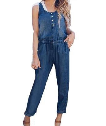 c0f1fa41f81b Yoawdats Women s Sleeveless Denim Jumpsuit Long Pants Overalls Party Rompers  Trousers (Medium