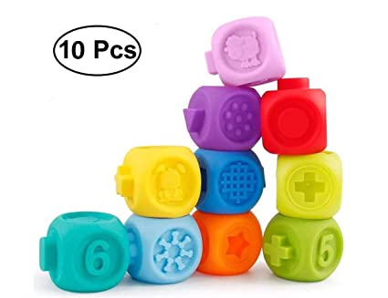1795c12a1bf31 Soft Squeeze Baby Blocks Bathbub Toys-Building Blocks for Toddlers- Early  Educational Sensory Toys