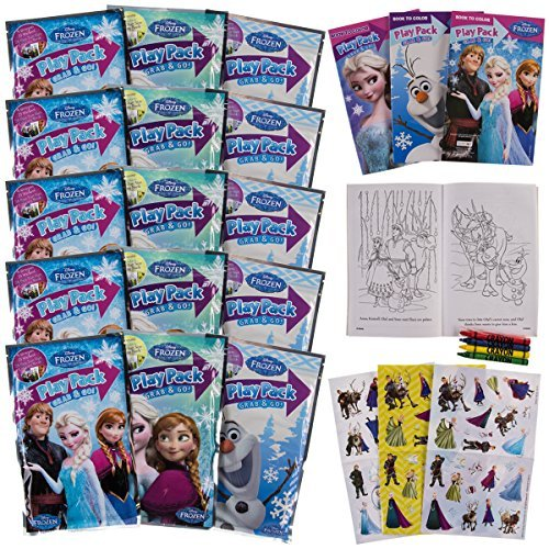 Set Of 15 Bendon Kids Frozen Play Fun Party Favors Packs Coloring Book Crayons Stickers - Animated Birthday Party
