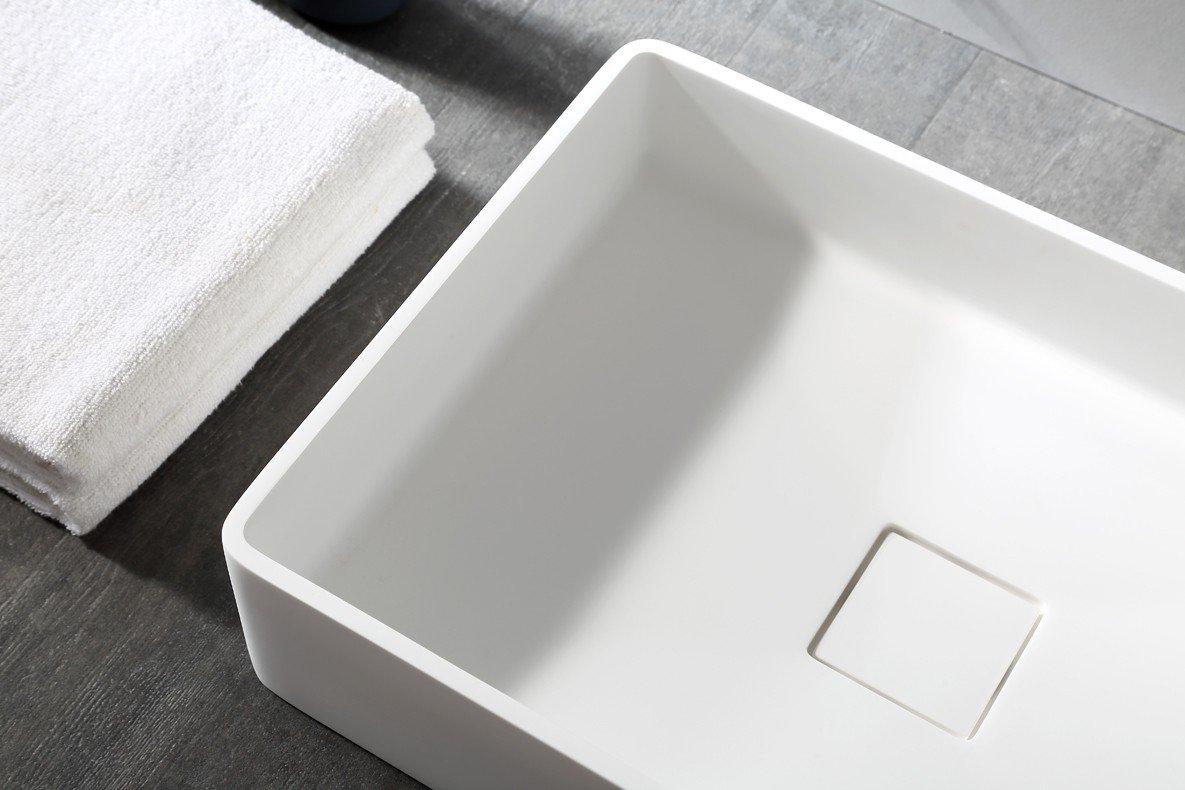 Aufsatzwaschbecken Aqua aus Mineralguss Pure Acrylic Farbe:Wei/ß 48x32x10,5cm matt in Matt oder Hochglanz