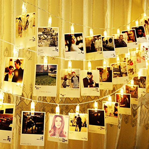 String Lights Photo Clip Lights String Battery Operated Fairy LED Lights for Photo Memos Card Clip Holder in Bedroom for Graduation Birthday Wedding Christmas Party
