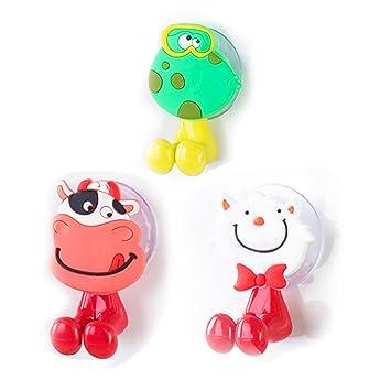Los niños cepillo de dientes soporte perchero de pared con ventosa (3 pcs) diseño de animales de dibujos animados para cuarto de baño y de viaje: Amazon.es: ...