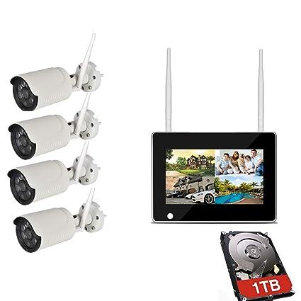 Inalámbrico Seguridad Cámara Sistema,Circuito Cerrado Televisión Cámara Sistema HD 960P.4 Vías Señal