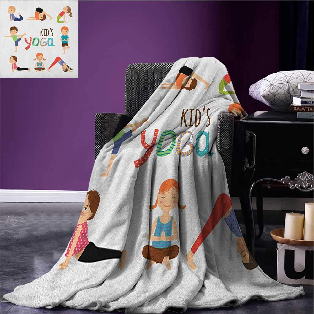 Yoga park blanket Kids in Different Poses Fun Humor Gymnastics for Children and Healthy Lifestyle Theme soft blanket Multicolor size:50''x60''