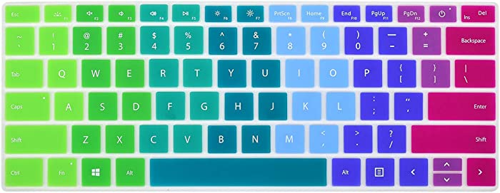 Colorful Keyboard Cover for New Microsoft Surface Laptop 3 13.5 and 15 inch 2020 2019 Release, Surface Laptop 3 Keyboard Skin Protector, Rainbow
